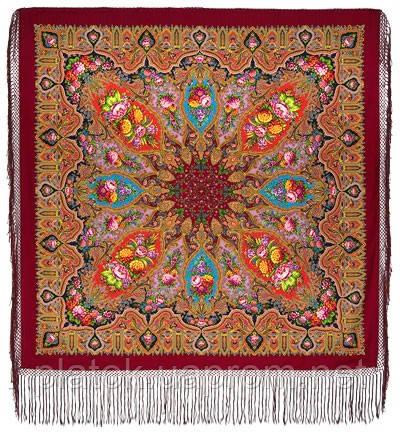 Миндаль 1369-6, павлопосадский платок (шаль) из уплотненной шерсти с шелковой вязанной бахромой