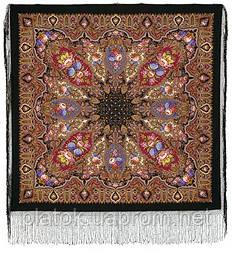 Миндаль 1369-20, павлопосадский платок (шаль) из уплотненной шерсти с шелковой вязанной бахромой