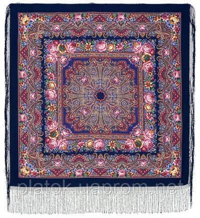 Остановись, мгновенье... 1401-14, павлопосадсая шаль из уплотненной шерсти с шелковой вязаной бахромой