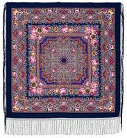 Остановись, мгновенье... 1401-14, павлопосадсая шаль из уплотненной шерсти с шелковой вязаной бахромой, фото 1