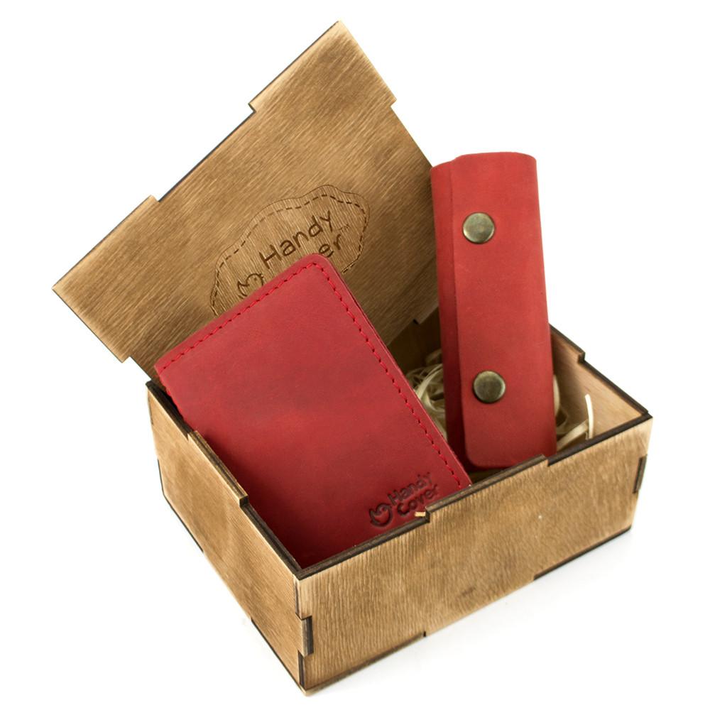 Подарунковий набір жіночий в коробці Handycover №43 (червоний) ключниця, обкладинка ID паспорт