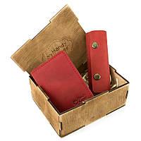 Подарунковий набір жіночий в коробці Handycover №43 (червоний) ключниця, обкладинка ID паспорт, фото 1