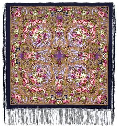 Счастливица 1122-14, павлопосадский платок (шаль) из уплотненной шерсти с шелковой вязанной бахромой