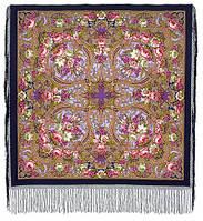 Счастливица 1122-14, павлопосадский платок (шаль) из уплотненной шерсти с шелковой вязанной бахромой, фото 1