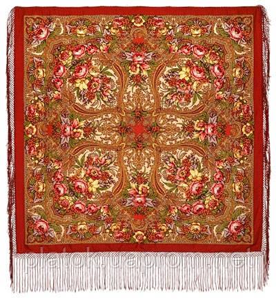Щасливиця 1122-3, павлопосадский хустку (шаль) з ущільненої вовни з шовковою бахромою в'язаної