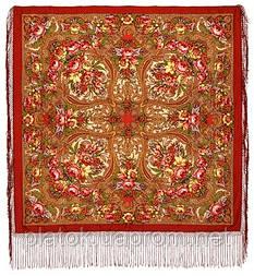 Счастливица 1122-3, павлопосадский платок (шаль) из уплотненной шерсти с шелковой вязанной бахромой