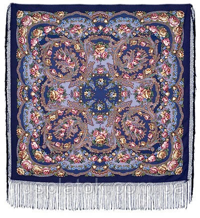 Квіти під снігом 1099-14, павлопосадский хустку (шаль) з ущільненої вовни з шовковою бахромою в'язаної
