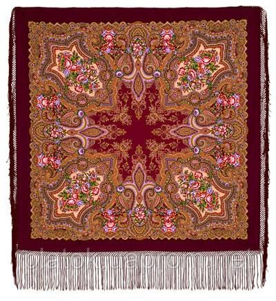 Юлия 1230-7, павлопосадский платок (шаль) из уплотненной шерсти с шелковой вязанной бахромой