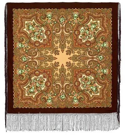 Юлия 1230-17, павлопосадский платок (шаль) из уплотненной шерсти с шелковой вязанной бахромой