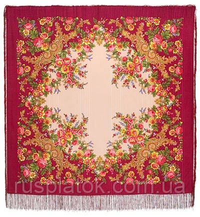 Изысканная 1315-5, павлопосадский платок шерстяной (с просновками) с шелковой бахромой
