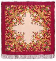 Изысканная 1315-5, павлопосадский платок шерстяной (с просновками) с шелковой бахромой, фото 1
