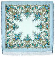 Лариса 322-8, павлопосадский платок шерстяной (с просновками) с шелковой бахромой, фото 1