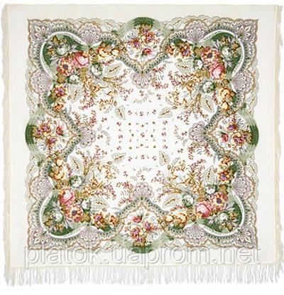 Отрада 678-3, павлопосадский платок шерстяной  с шерстяной бахромой