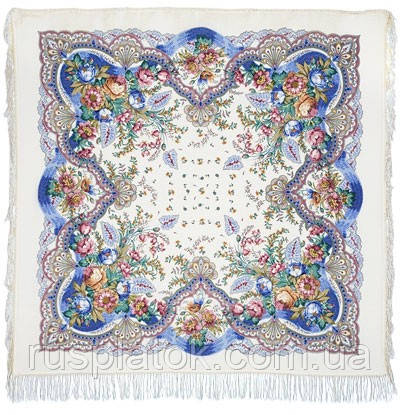 Отрада 678-4, павлопосадский платок шерстяной  с шерстяной бахромой