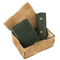 Подарунковий набір чоловічий  в коробці Handycover №43 (зелений) ключниця, обкладинка ID паспорт, фото 1