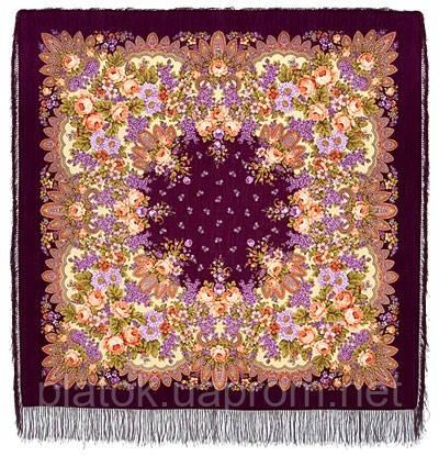 Цветет сирень 1360-7, павлопосадский платок шерстяной  с шелковой бахромой