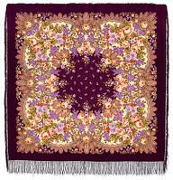 Цветет сирень 1360-7, павлопосадский платок шерстяной  с шелковой бахромой, фото 1