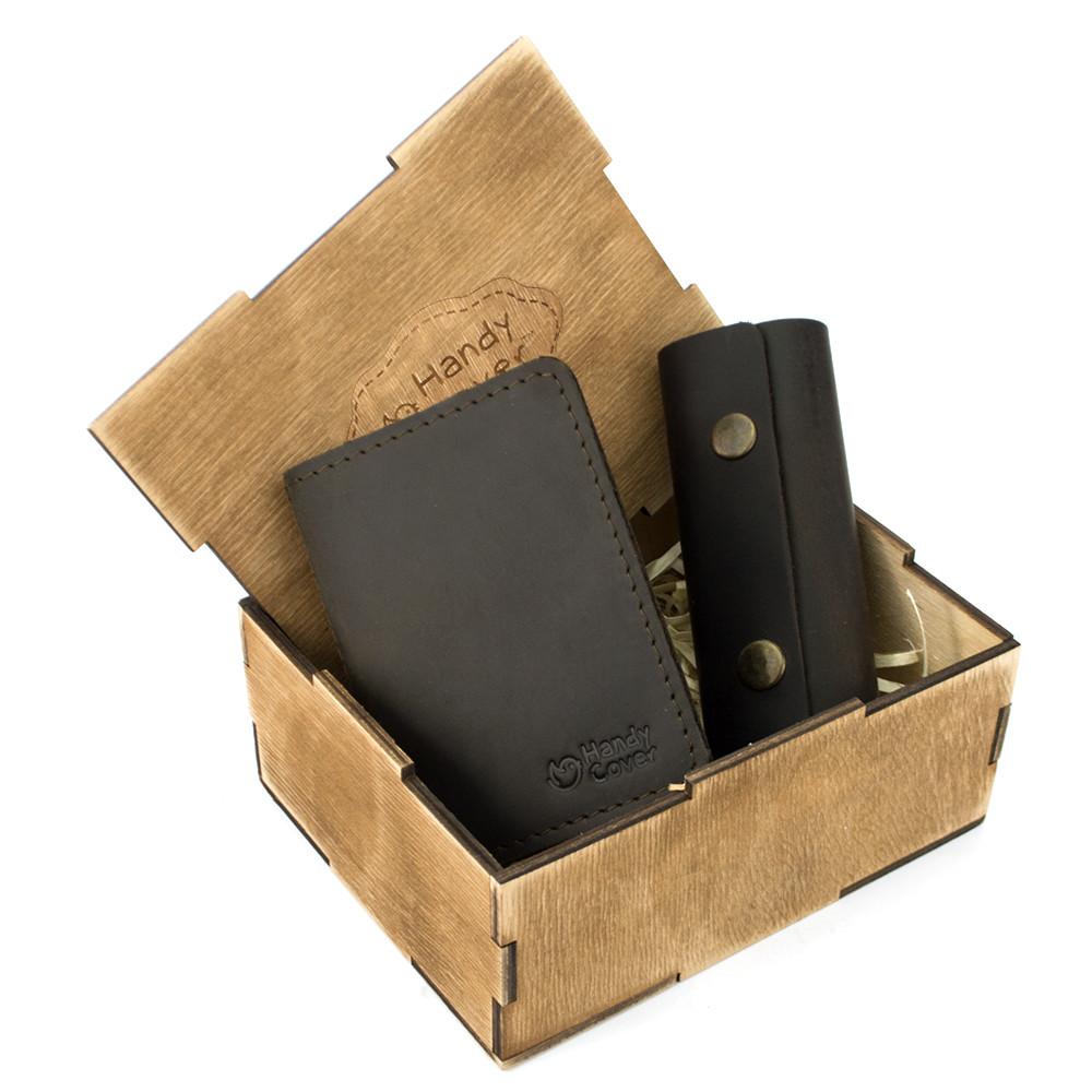 Подарунковий набір чоловічий  в коробці Handycover №43 (коричневий) ключниця, обкладинка ID паспорт