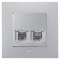 Розетка компьютерная RJ45 UTP 5-категория + телефонная RJ12, Легранд – «Этика» цвет алюминий