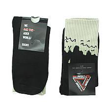 Чорні шкарпетки молодіжні довгі, високі шкарпетки з патьоками р. 37-41 (1 пара)