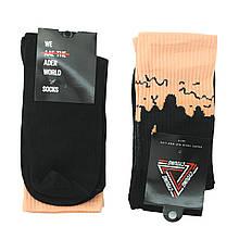 Чорні шкарпетки молодіжні довгі, високі чорні шкарпетки з рожевим верхи р. 37-41 (1 пара)