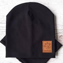 Детская шапка с хомутом КАНТА размер 52-56, черный (OC-127)