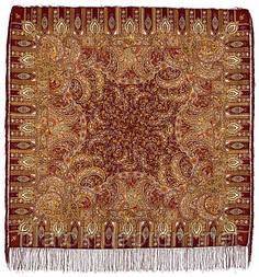 Садко 598-56, павлопосадский платок шерстяной с шелковой бахромой
