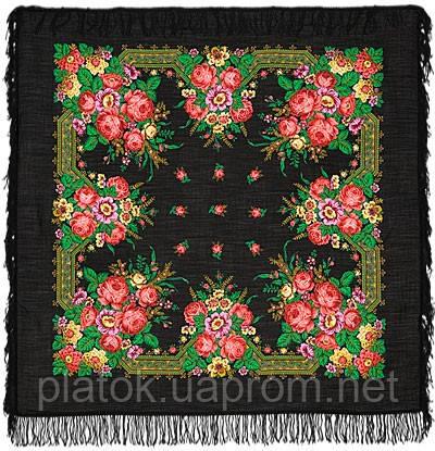 Святочный 12-26, павлопосадский платок шерстяной с шерстяной бахромой