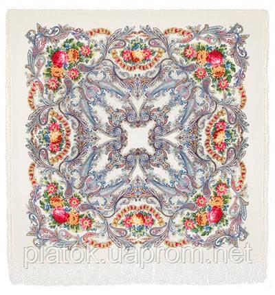 Сон бабочки 1463-1, павлопосадский платок шерстяной с шелковой бахромой