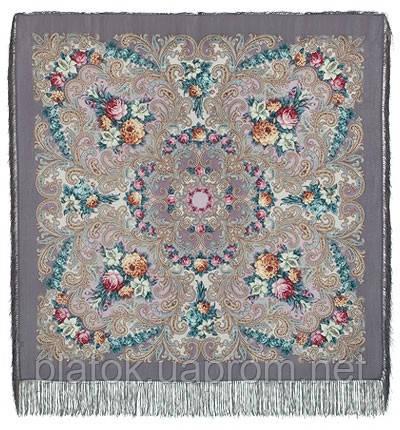 Тайна сердца 1437-1, павлопосадский платок шерстяной с шелковой бахромой