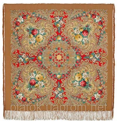 Тайна сердца 1437-2, павлопосадский платок шерстяной с шелковой бахромой
