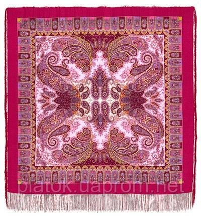 Фаворит 1344-6, павлопосадский платок шерстяной с шелковой бахромой