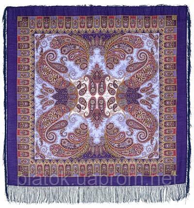 Фаворит 1344-13, павлопосадский платок шерстяной с шелковой бахромой