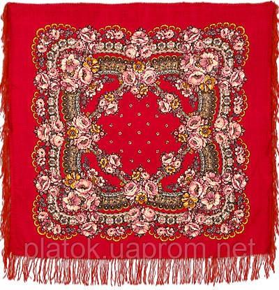 Маков цвет 155-5, павлопосадский платок шерстяной с шерстяной бахромой