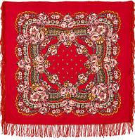 Маков цвет 155-5, павлопосадский платок шерстяной с шерстяной бахромой    СКИДКА!!!