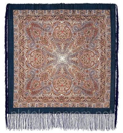 Мозаика 543-15, павлопосадский платок шерстяной  с шелковой бахромой