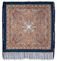 Мозаика 543-15, павлопосадский платок шерстяной  с шелковой бахромой, фото 1
