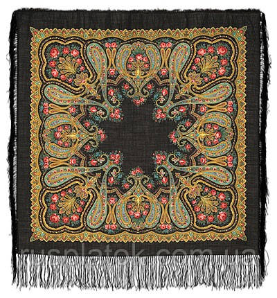 Різдвяний 766-18, павлопосадский вовняну хустку з шовковою бахромою