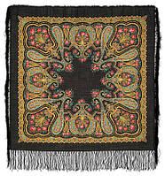 Рождественский 766-18, павлопосадский платок шерстяной  с шелковой бахромой
