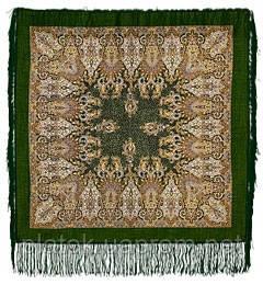 Сады Шираза 855-10, павлопосадский платок шерстяной  с шелковой бахромой