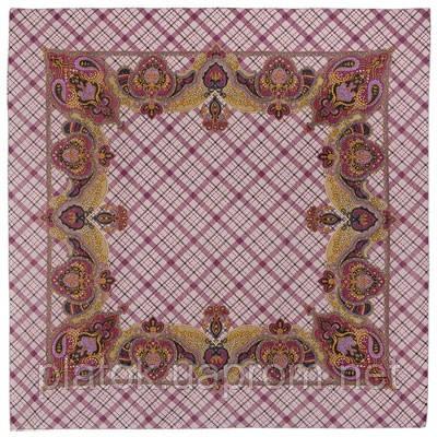Шотландский напев 1001-1, павлопосадский платок шерстяной  с оверлоком