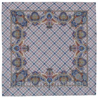 Шотландский напев 1001-3, павлопосадский платок шерстяной  с оверлоком