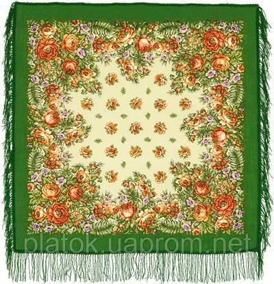 Южанка 1387-9, павлопосадский платок шерстяной с шерстяной бахромой