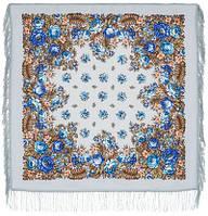 Южанка 1387-1, павлопосадский платок шерстяной с шерстяной бахромой