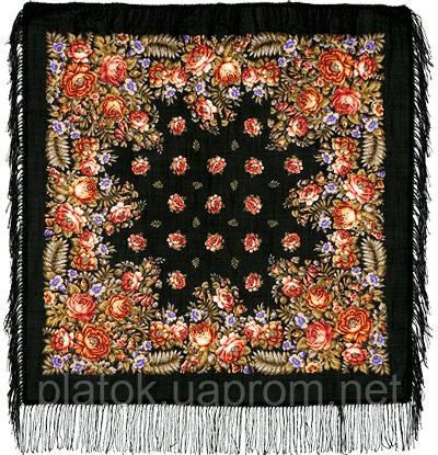 Южанка 1387-18, павлопосадский платок шерстяной с шерстяной бахромой