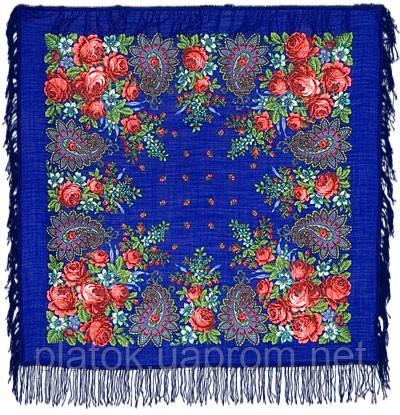Южная ночь 148-13, павлопосадский платок шерстяной с шерстяной бахромой