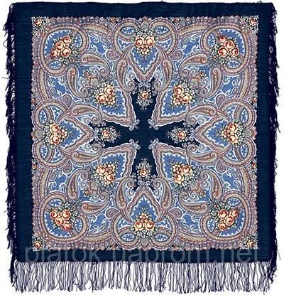 Яшма 542-14, павлопосадский платок шерстяной с шерстяной бахромой