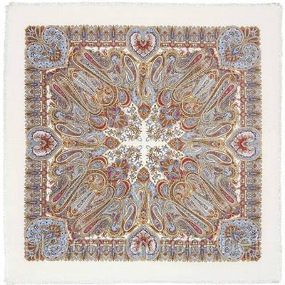 Масленичные гуляния 1334-1, павлопосадский платок шерстяной  с осыпкой (оверлоком)