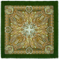 Масленичные гуляния 1334-9, павлопосадский платок шерстяной  с осыпкой (оверлоком)