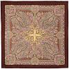Масленичные гуляния 1334-17, павлопосадский платок шерстяной  с осыпкой (оверлоком)